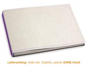 A5+ Quer Hülle 3er Texon stone/lila inkl. ElastiXs