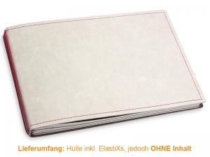 A5+ Quer Hülle 3er Texon stone/rot inkl. ElastiXs