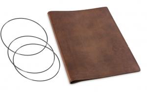 A4+ Hülle Leder Natur für 2 Einlagen, kastanie (1-904-2D1-W2)