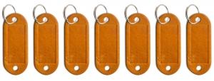 Schlüsseletikett Leder cognac, 7er Pack