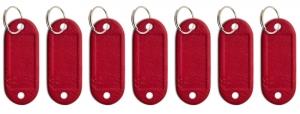 Schlüsseletikett Leder rot, 7er Pack