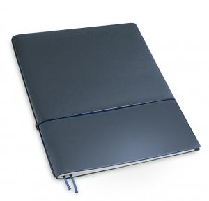 A4+ 1er Lefa beschichtet dunkelblau mit 1 x Notizen und Doppeltasche