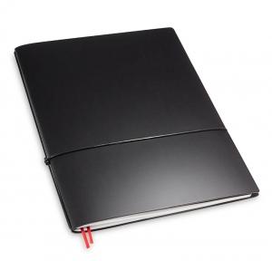 A4+ 1er Lefa beschichtet schwarz mit 1 x Notizen und Doppeltasche