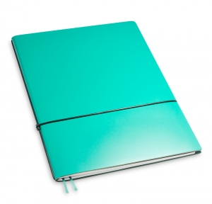 A4+ 1er Lefa beschichtet türkisgrün mit 1 x Notizen und Doppeltasche