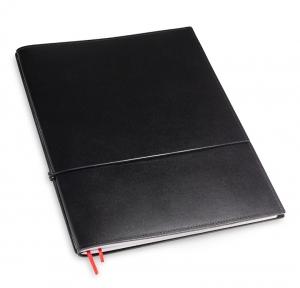 A4+ 1er Leder glatt schwarz mit 1 x Notizen und Doppeltasche