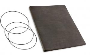 A4+ Lederhülle  für 2 Einlagen, grau-braun (X4-2-19)