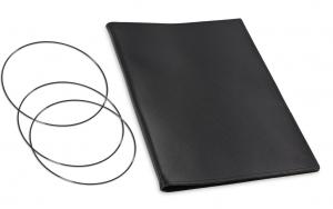 A4+ Hülle Leder Natur für 2 Einlagen, schwarz matt (X4-2-4)