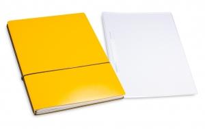 A4+ 2er Projektmappe Lefa beschichtet gelb mit 2 x Notizen, Doppeltasche und Schnellhefter