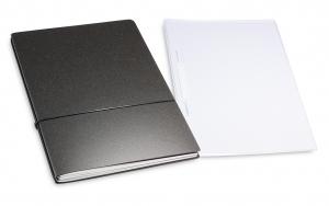A4+ 2er Projektmappe Lefa unbeschichtet graphit mit 2 x Notizen, Doppeltasche und Schnellhefter