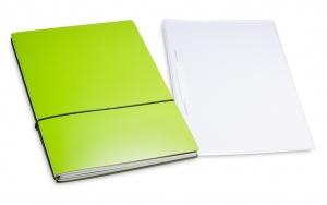 A4+ 2er Projektmappe Lefa beschichtet grün mit 2 x Notizen, Doppeltasche und Schnellhefter