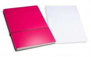 A4+ 2er Projektmappe Lefa beschichtet magenta mit 2 x Notizen, Doppeltasche und Schnellhefter