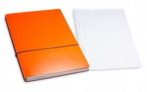 A4+ 2er Projektmappe Lefa beschichtet orange mit 2 x Notizen, Doppeltasche und Schnellhefter