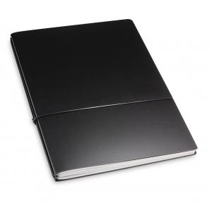A4+ 2er Lefa beschichtet schwarz mit 2 x Notizen und Doppeltasche