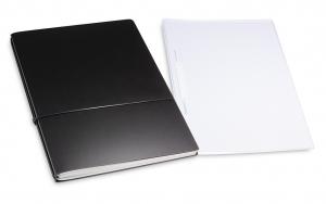 A4+ 2er Projektmappe Lefa beschichtet schwarz mit 2 x Notizen, Doppeltasche und Schnellhefter