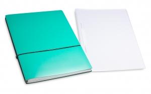 A4+ 2er Projektmappe Lefa beschichtet türkisgrün mit 2 x Notizen, Doppeltasche und Schnellhefter