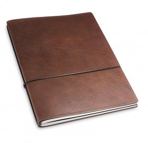A4+ 2er Leder natur kastanie mit 2 x Notizen und Doppeltasche