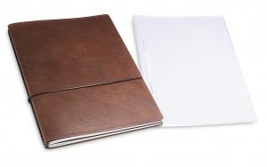 A4+ 2er Projektmappe Leder natur kastanie mit 2 x Notizen, Doppeltasche und Schnellhefter