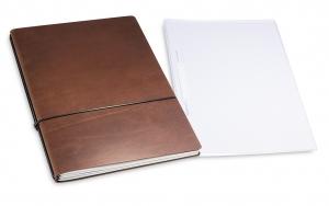 A4+ 2er Projektmappe Leder natur marone mit 2 x Notizen, Doppeltasche und Schnellhefter