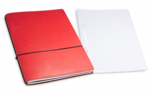 A4+ 2er Projektmappe Leder natur rot mit 2 x Notizen, Doppeltasche und Schnellhefter