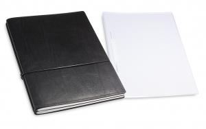 A4+ 2er Projektmappe Leder natur schwarz mit 2 x Notizen, Doppeltasche und Schnellhefter