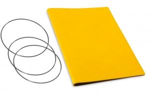 A4+ Hülle 2er Leder glatt gelb inkl. ElastiXs