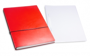 A4+ 2er Leder glatt Projektmappe rot mit 2 x Notizen und Doppeltasche + Schnellhefter