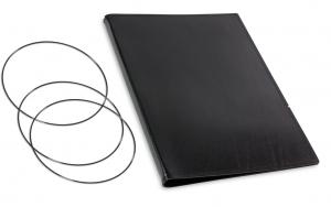 A4+ Hülle 2er Leder glatt schwarz inkl. ElastiXs