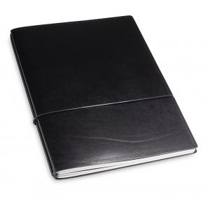 A4+ 2er Leder glatt schwarz mit 2 x Notizen und Doppeltasche