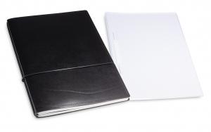A4+ 2er Leder glatt Projektmappe schwarz mit 2 x Notizen und Doppeltasche