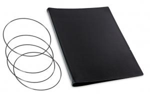 A4+ Hülle 3er Leder glatt schwarz inkl. ElastiXs