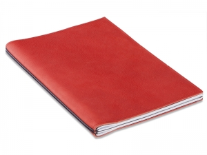 A4+ Konferenzmappe LeatherSkin rot, naturgeschrumpft,vegetabil gegerbt, mit 2 x Notizen + Doppeltasche