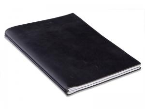 A4+ Konferenzmappe LeatherSkin schwarz, vegetabil gegerbt, mit 2 x Notizen + Doppeltasche