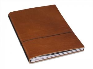 A4+ Super-Buch LeatherSkin brandy, vegetabil gegerbt, mit 2 x Notizen + Doppeltasche + Schnellhefter