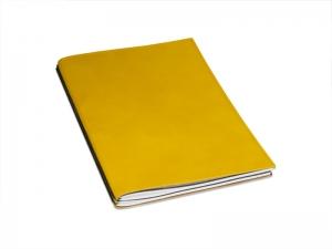 A4+ 2er Leder glatt Projektmappe gelb mit 2 x Notizen und Doppeltasche + Schnellhefter