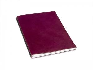 A4+ 2er Leder glatt Projektmappe violett mit 2 x Notizen und Doppeltasche