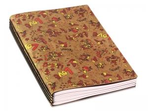 A5 4er Notizbuch Veloursleder braun mit Aufdruck