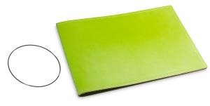A5+ Quer Hülle 1er Leder glatt grün inkl. ElastiXs