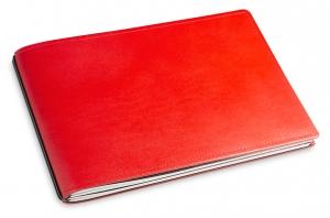 A5+ Quer 2er Leder glatt rot mit Notizenmix