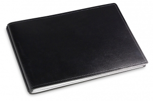 A5+ Quer 2er Leder glatt schwarz mit Notizenmix