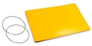 A5+ Quer Hülle 2er Leder glatt gelb inkl. ElastiXs
