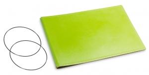 A5+ Quer Hülle 2er Leder glatt grün inkl. ElastiXs