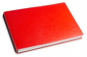 A5+ Quer 3er Leder glatt rot mit Notizenmix