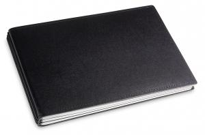 A5+ Quer 3er Leder glatt schwarz mit Notizenmix