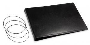 A5+ Quer Hülle 3er Leder glatt schwarz inkl. ElastiXs