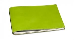A5+ Quer LeatherSkin 2er Hülle Glatt grün