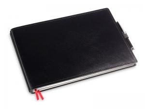 A5+ Quer 2er Leder glatt schwarz in der BOX