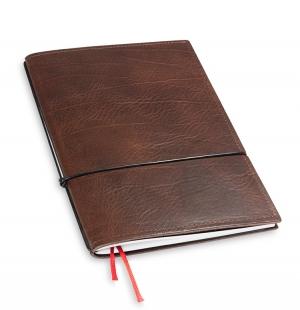 A5 1er Notizbuch Leder natur kastanie, Notizenmix