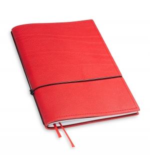 A5 1er Notizbuch Leder natur rot, Notizenmix