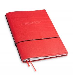A5 1er Adressbuch Leder natur rot