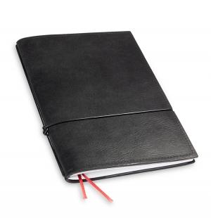 A5 1er Notizbuch Leder natur schwarz, Notizenmix